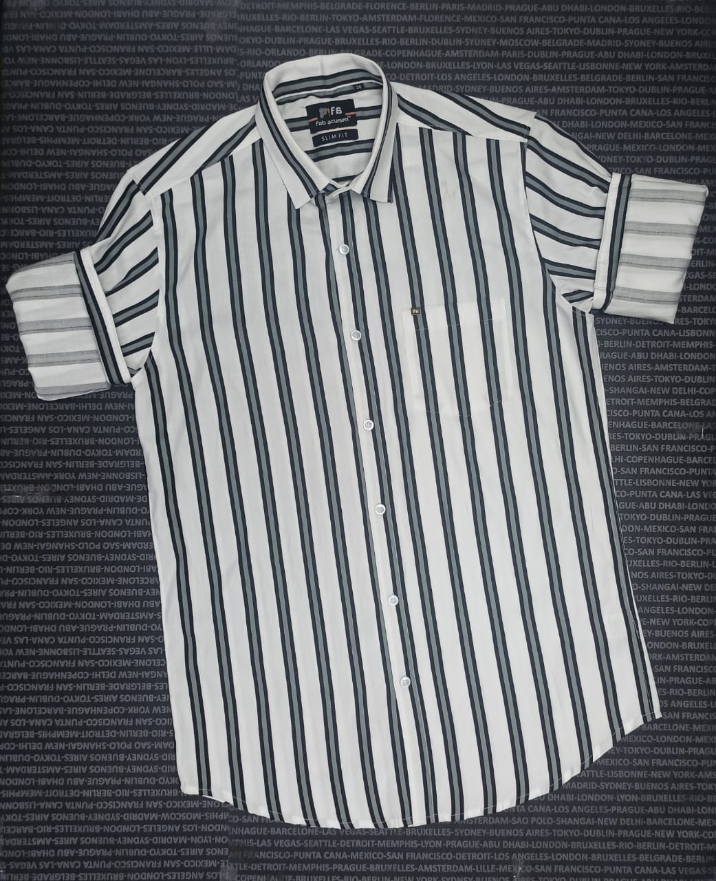 Men Slim Fit Striped Casual Shirt