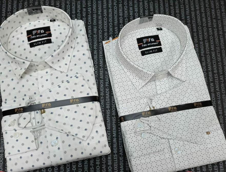 White Slim Fit Printed Casual Shirt