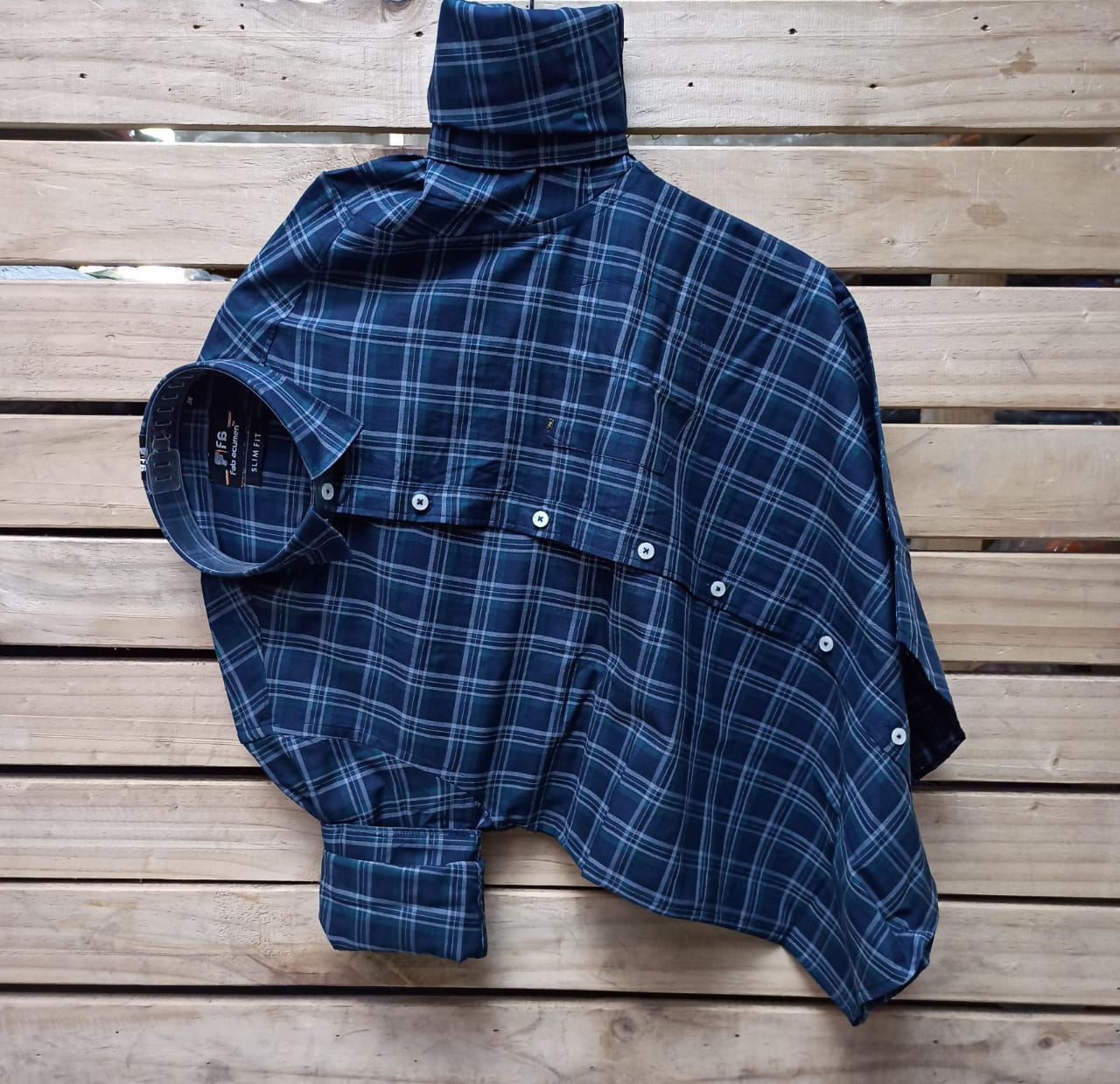Slim Fit  Premium Checked Casual Shirt with mask