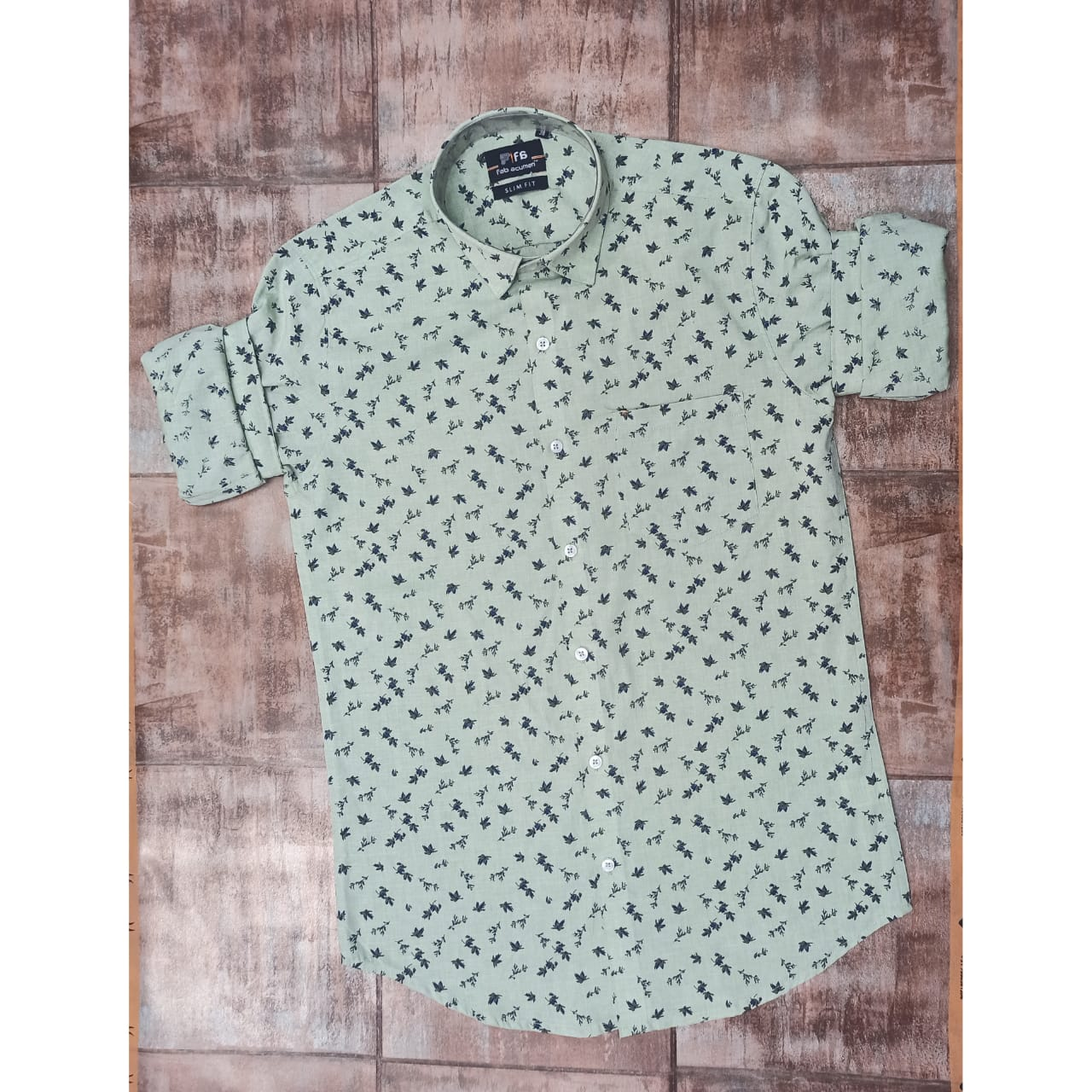 Paper Cotton- Slim Fit Printed Casual Shirt
